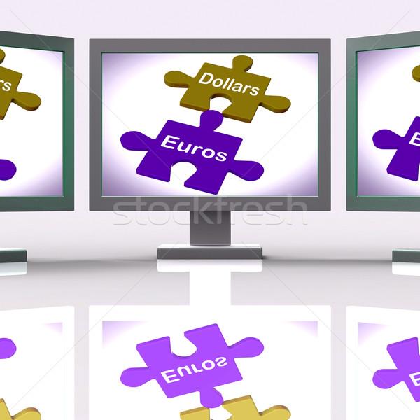 Dollár eurók puzzle képernyő nemzetközi pénz Stock fotó © stuartmiles