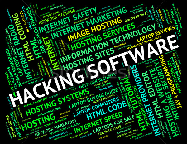 Hacking Software Shows Shareware Application And Attack Stock photo © stuartmiles