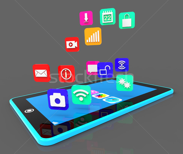 Social Media Phone Shows Application Software And Applications Stock photo © stuartmiles