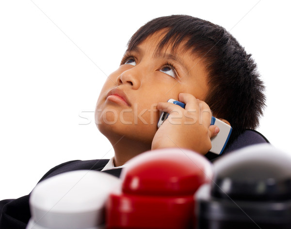Boy Pretending At Being Boss Stock photo © stuartmiles