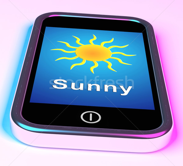 Mobile Smartphone Shows Sunny Weather Forecast Stock photo © stuartmiles