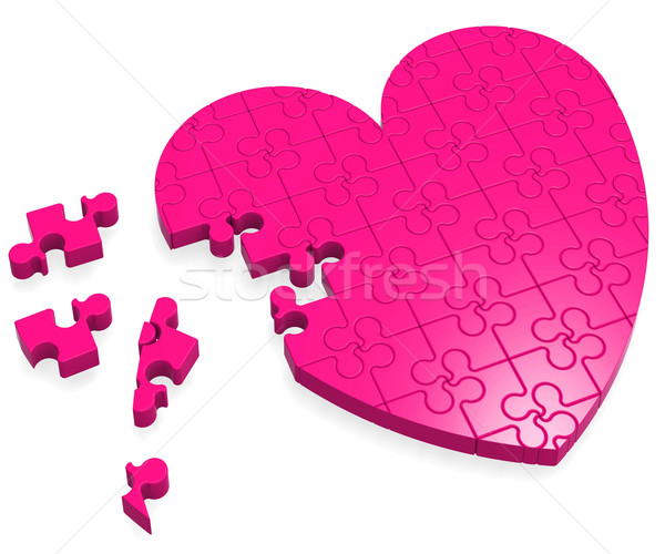 Unfinished Heart Puzzle Showing Love Stock photo © stuartmiles