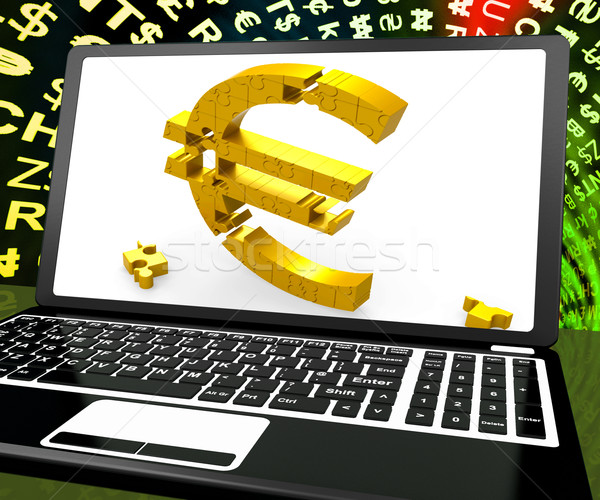 Euro Symbol On Laptop Shows Ecommerce Stock photo © stuartmiles