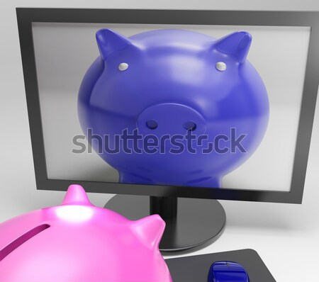 Stock photo: Piggy Duo Shows Family Investing For Security
