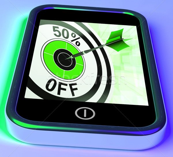 50 Percent Off On Smartphone Showing Great Offers Stock photo © stuartmiles