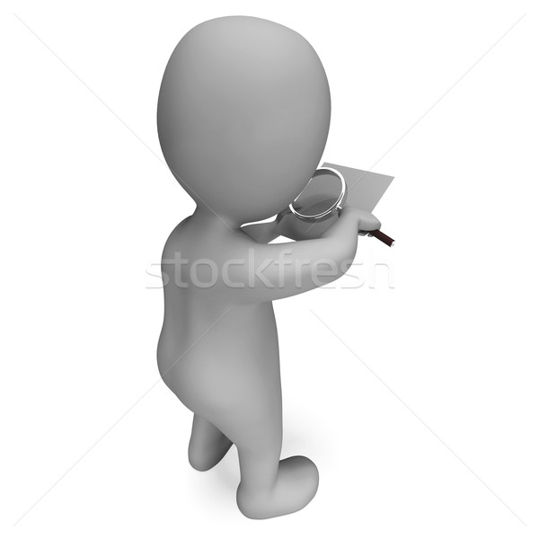 Looking Magnifier Document Character Shows Investigation Scrutin Stock photo © stuartmiles
