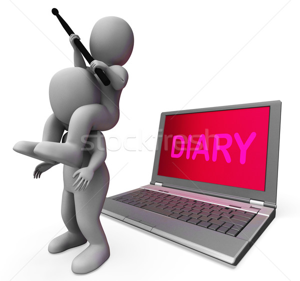 Diary Laptop Characters Show Internet Appointment Or Schedules Stock photo © stuartmiles