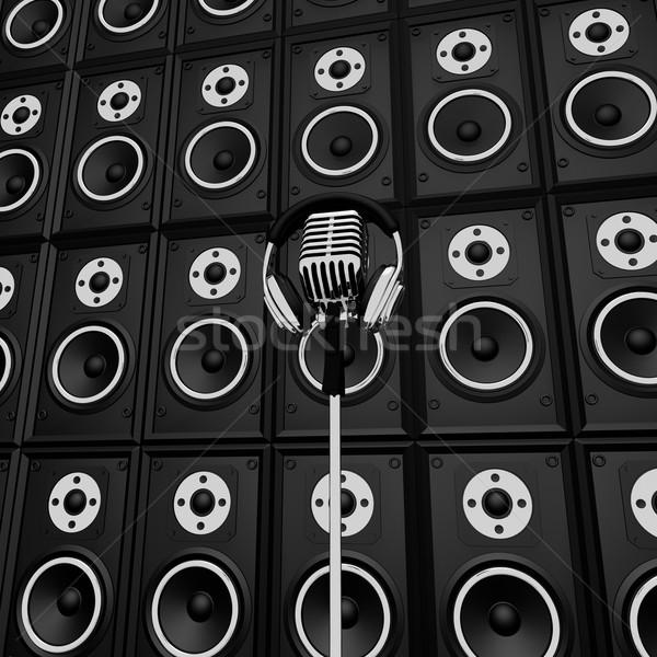 Mikrofon hoparlörler göstermek müzik performans konser Stok fotoğraf © stuartmiles