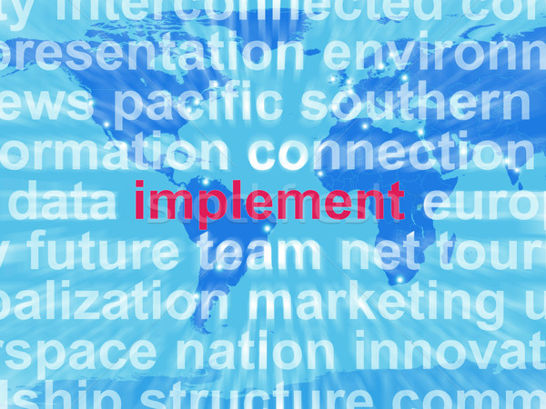 Implement Word Cloud Shows Implementing Or Executing A Plan Stock photo © stuartmiles