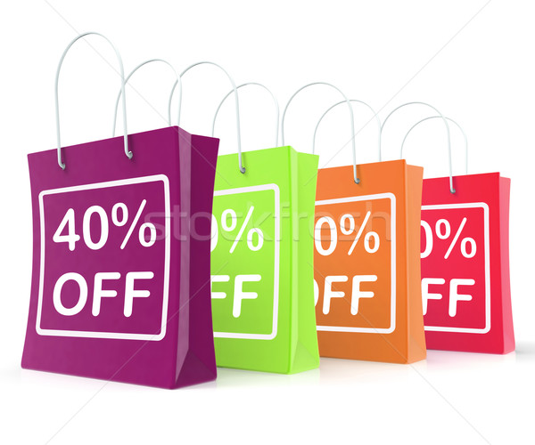 Forty Percent Off Shopping Bags Shows 40 Reduction Stock photo © stuartmiles