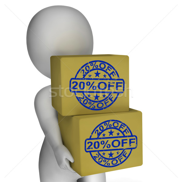 Twenty Percent Off Boxes Show 20 Reduced Price Stock photo © stuartmiles