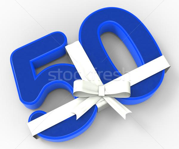 番号 50 リボン 歳の誕生日 お祝い ストックフォト © stuartmiles