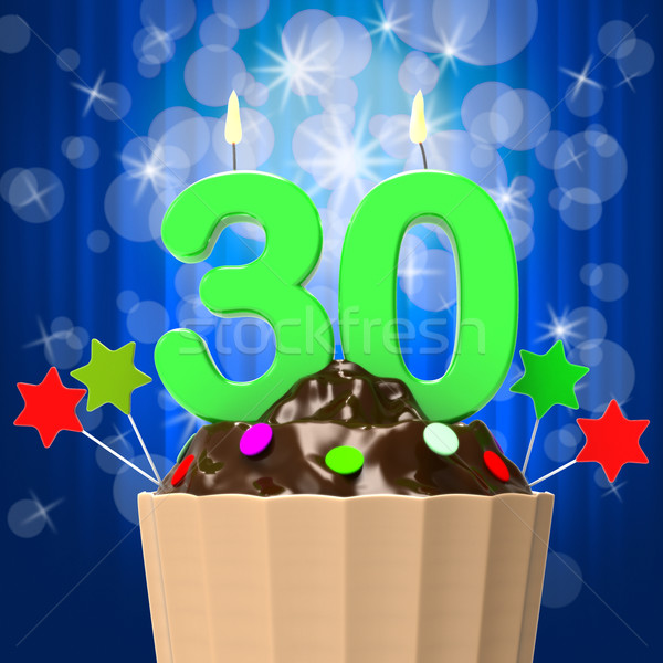 Thirty Candle On Cupcake Shows Sweet Celebration Or Event Stock photo © stuartmiles