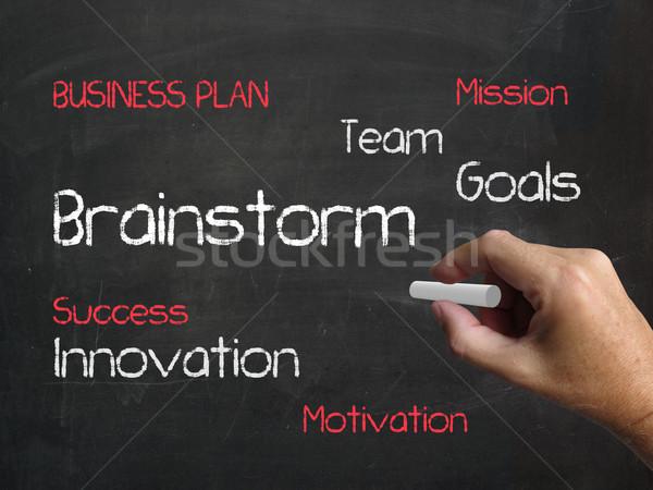 Brainstorm On Chalkboard Shows Creative Ideas And Inspiration Stock photo © stuartmiles