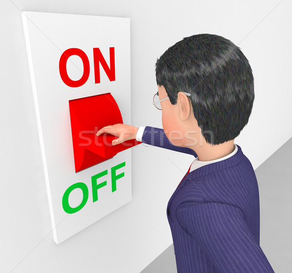 Businessman Turned Off Represents Power Switch And Company Stock photo © stuartmiles
