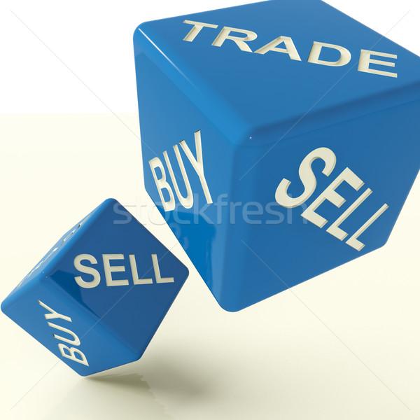 Kopen handel verkopen dobbelstenen business commerce Stockfoto © stuartmiles