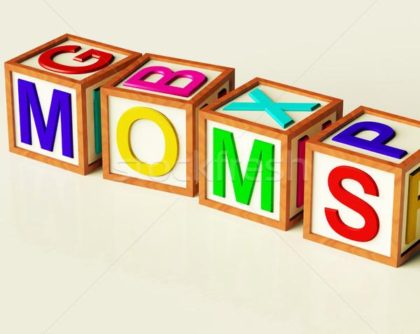 Dzieci bloków pisownia symbol macierzyństwo Zdjęcia stock © stuartmiles