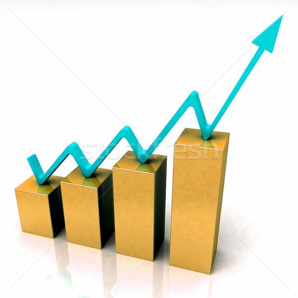 Gold Bar Chart Shows Budget Versus Actual Stock photo © stuartmiles