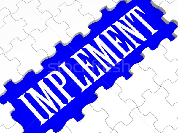 Implement Puzzle Shows Performing Plans Stock photo © stuartmiles
