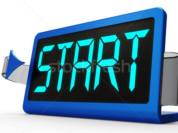 Kezdet gomb óra mutat kezdet Stock fotó © stuartmiles