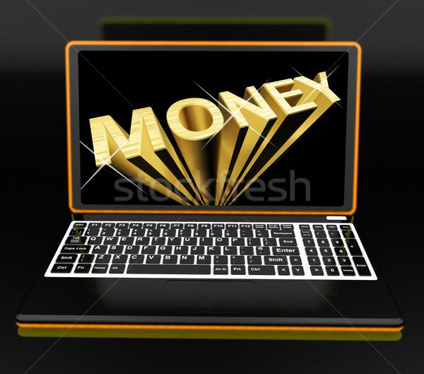 Geld laptop tonen inkomsten spaargeld internet Stockfoto © stuartmiles