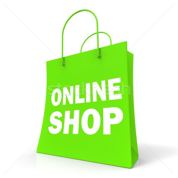 Shopping Online Bag Shows Internet Buying Stock photo © stuartmiles