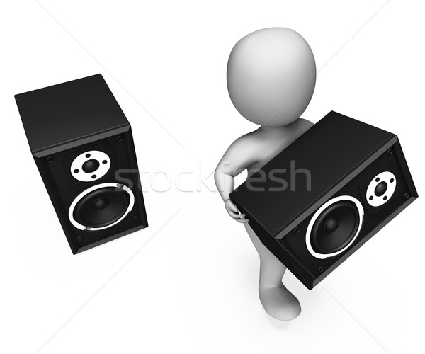 Loudspeakers Character Shows Loud Speakers Music Disco Or Party Stock photo © stuartmiles
