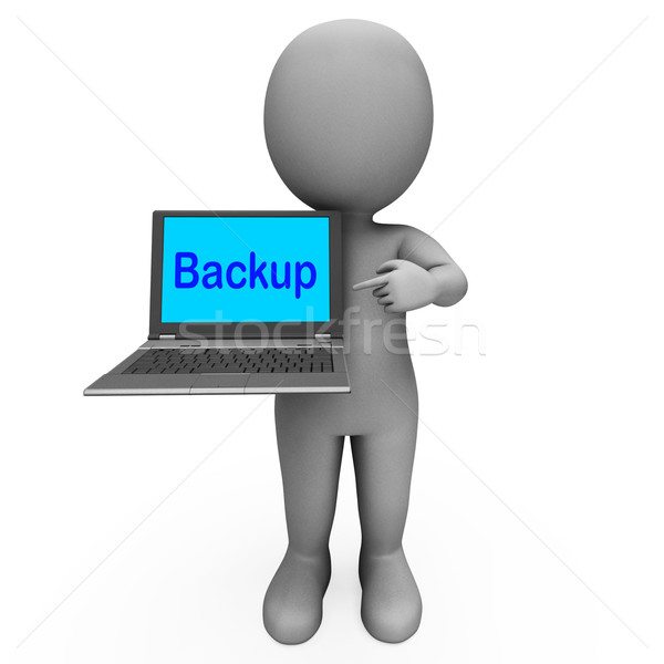 Backup Laptop And Character Shows Archiving Back Up And Storing Stock photo © stuartmiles