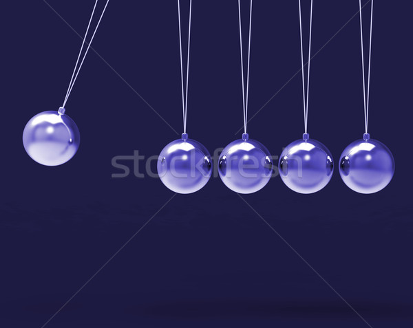 Five Silver Newtons Cradle Shows Blank Spheres Copyspace For 5 L Stock photo © stuartmiles