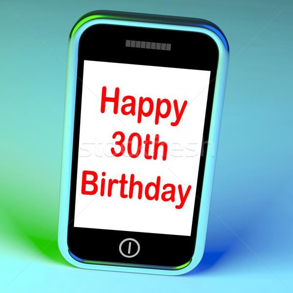 Felice compleanno smartphone complimenti significato raggiungere Foto d'archivio © stuartmiles