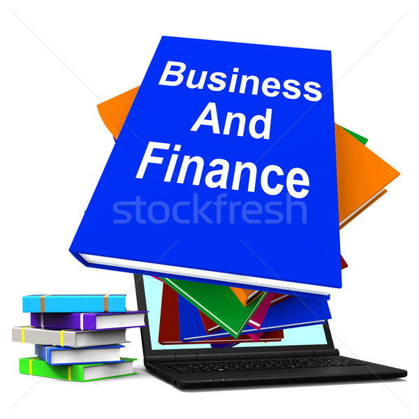 Business And Finance Book Stack Laptop Shows Businesses Finances Stock photo © stuartmiles