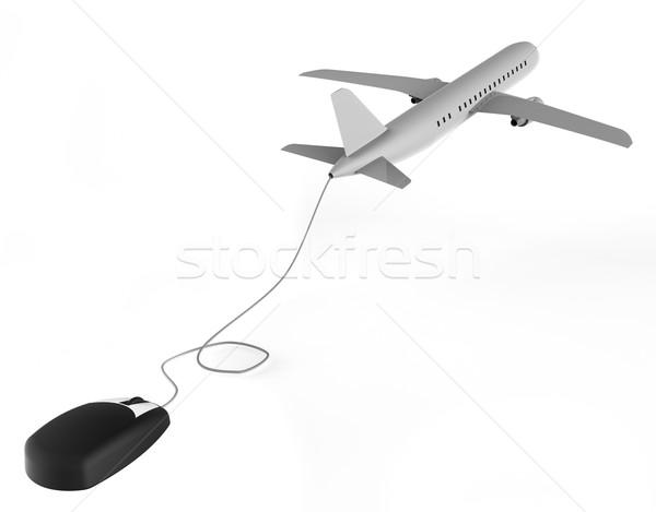 Online Flights Represents World Wide Web And Aeroplane Stock photo © stuartmiles
