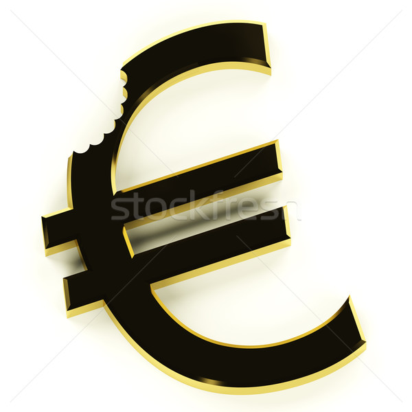 Euro With Bite Showing Devaluation Economic Crisis And Recession Stock photo © stuartmiles