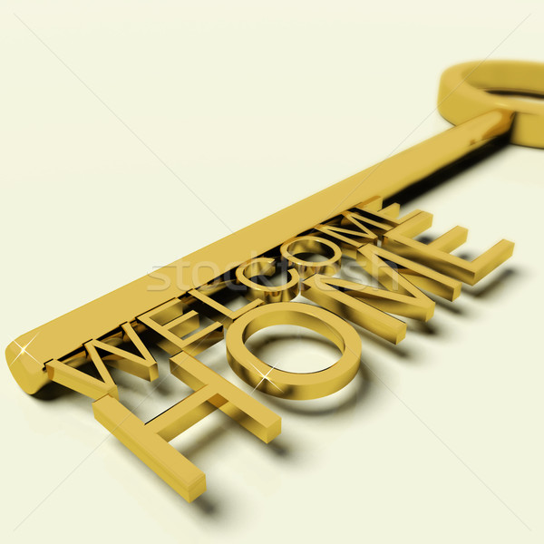Key With Welcome Home Text As Symbol For Property And Ownership Stock photo © stuartmiles