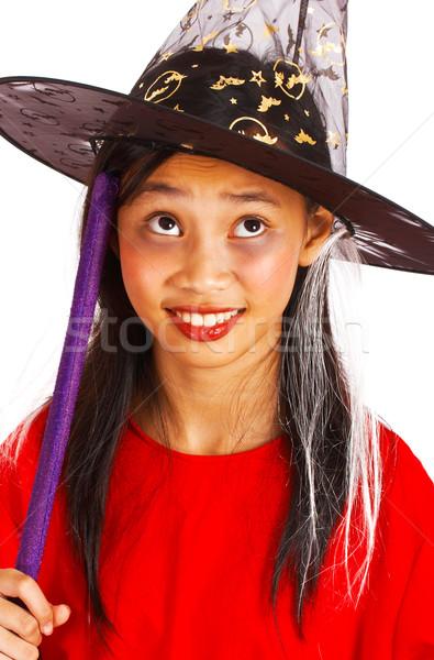 Jovem bruxa cabo de vassoura jovem para cima halloween Foto stock © stuartmiles