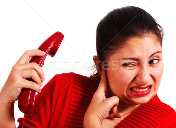 Vrouw luisteren klacht luid telefoon Stockfoto © stuartmiles