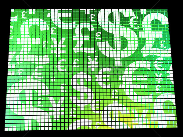 Currency Symbols On Compter Screen Showing Exchange Rates And Fi Stock photo © stuartmiles