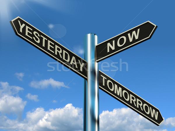 Ontem agora amanhã poste de sinalização programar diário Foto stock © stuartmiles