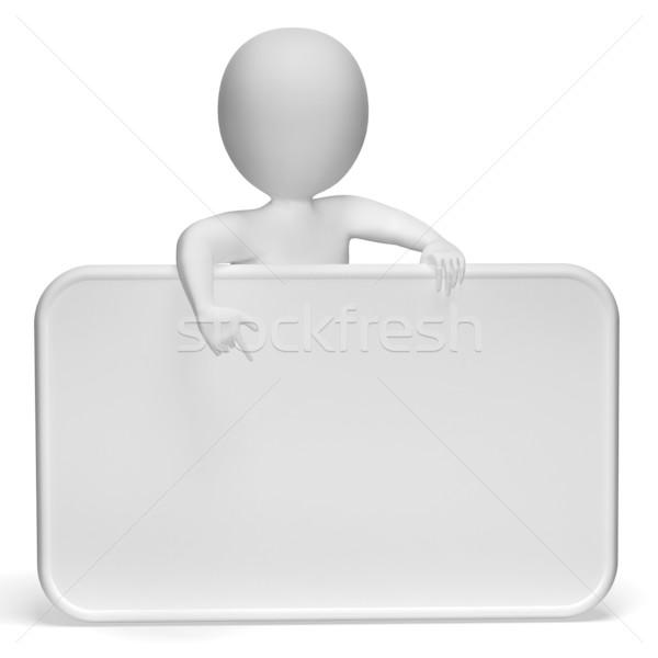 Fehér üres tábla copy space 3D karakter mutat Stock fotó © stuartmiles