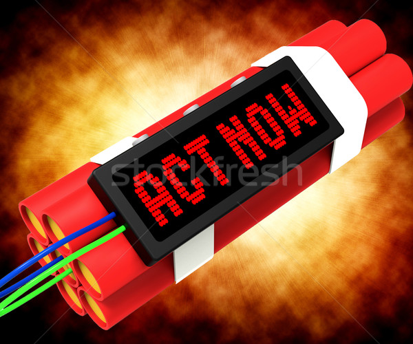 Stockfoto: Handelen · nu · dynamiet · urgentie · actie · tonen
