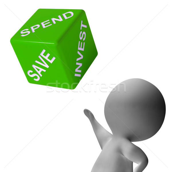 Spend Invest Or Save Dice Shows Budgeting Stock photo © stuartmiles