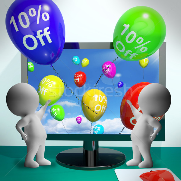 Balloons From Computer Showing Sale Discount Of Ten Percent Stock photo © stuartmiles