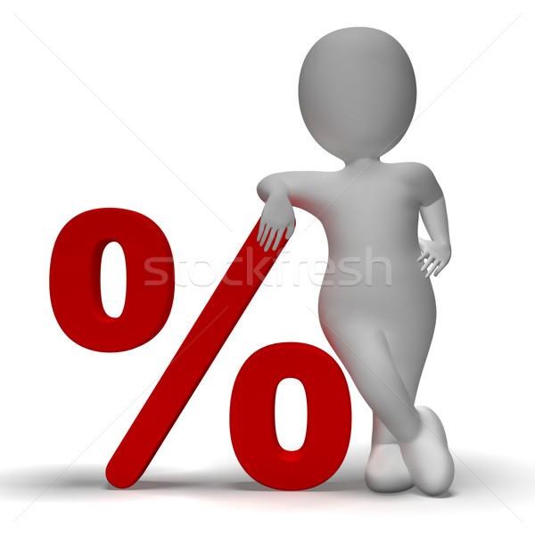 Сток-фото: процент · знак · 3d · человек · процент · скидка