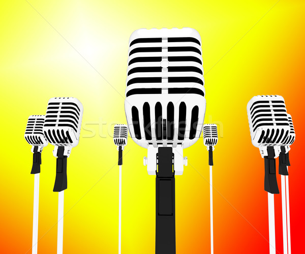 Microphones Musical Shows Music Group Songs Or Singing Hits Stock photo © stuartmiles