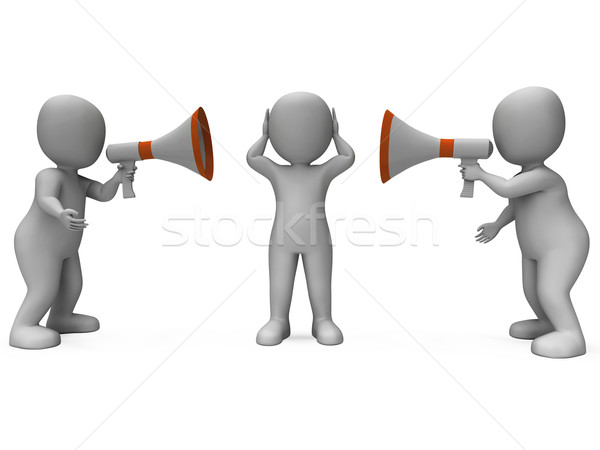 Loud Hailer Characters Show Megaphone Attention Explaining And B Stock photo © stuartmiles