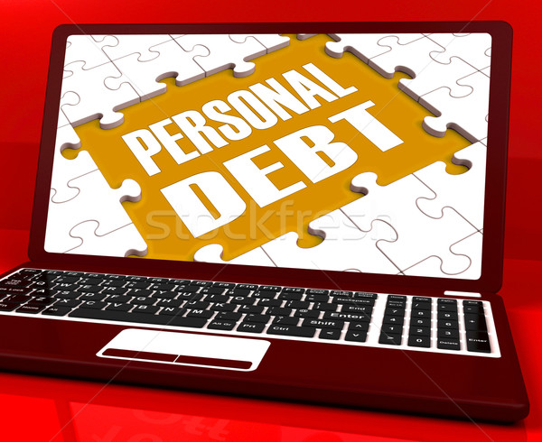 Personal Debt Laptop Shows Poverty Mortgage And Loans Stock photo © stuartmiles