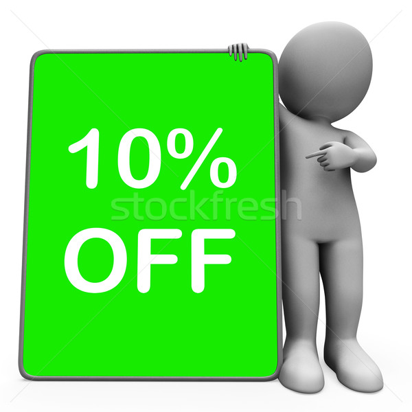Ten Percent Off Tablet Means 10% Reduction Or Sale Online Stock photo © stuartmiles