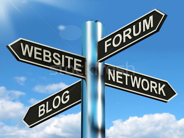 Website Forum Blog Network Signpost Shows Internet Stock photo © stuartmiles