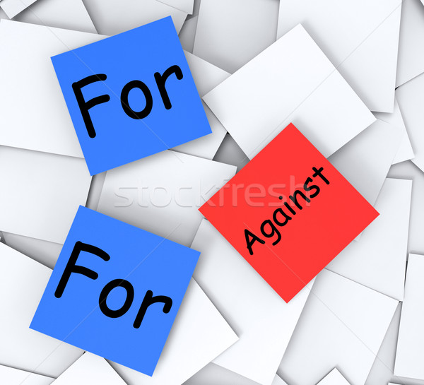 For Against Post-It Notes Mean Pros And Cons Stock photo © stuartmiles