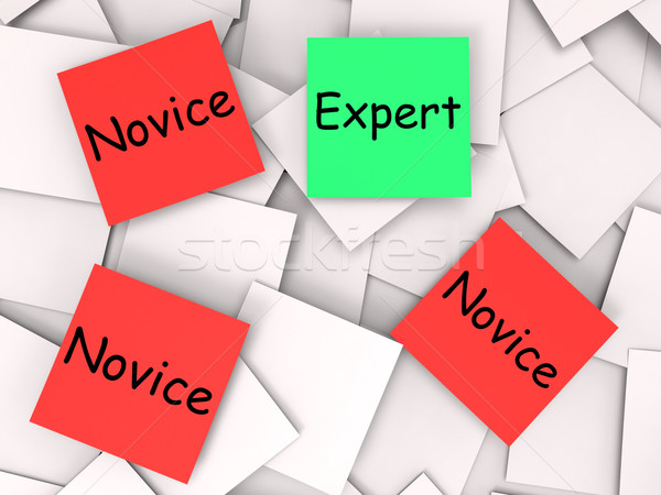 Expert Novice Post-It Notes Mean Professional Or Learner Stock photo © stuartmiles